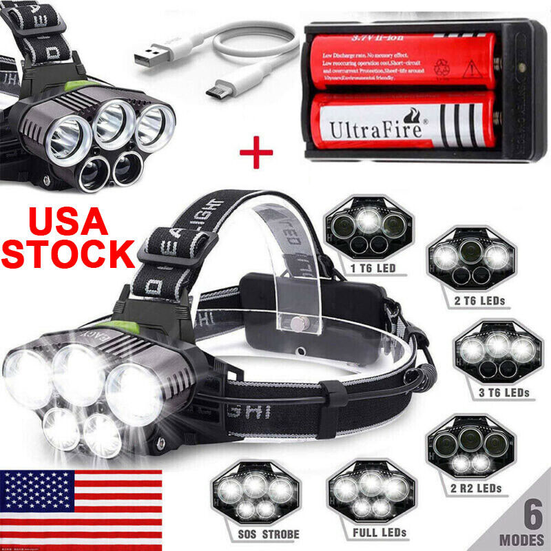 90000LM 5x T6 LED Headlamp Rechargeable Headlight Torch Lamp+2x18650+USB Cable
