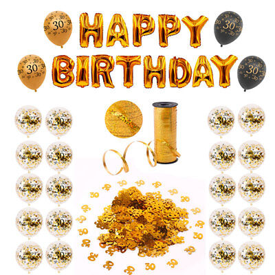 30th Birthday Balloons (Happy 30th Birthday Party Supply Gold Confetti Balloons Set Hanging Decoration)