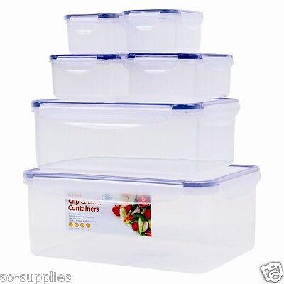 6 X CLIP & LOCK PLASTIC FOOD STORAGE CONTAINER TUB RECTANGULAR SCHOOL OFFICE