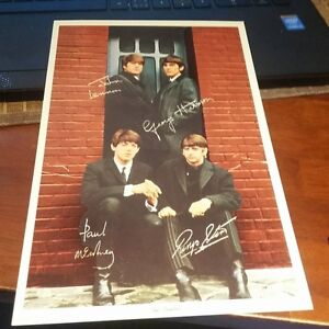 Stamp Signed Vintage Beatles Jumbo Postcard