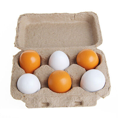 6pcs Wooden Eggs Yolk Pretend Play Kitchen Food Cooking Kid Child Toy Gift Set - Play Eggs