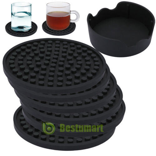 Coasters For Drinks Set Of 6 With Holder Black Large 4 3 Size Fit All Cup For Sale Online Ebay