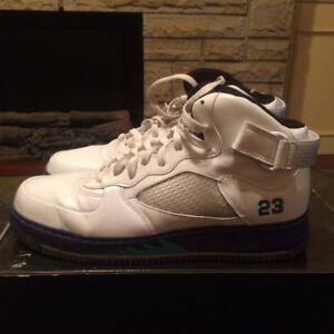 Air Jordan Fusion AJF 5 White/Grape Air Force 1 Size 12