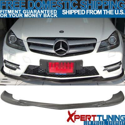 Fit 12-14 Benz C-Class W204 LCI Godhand Carbon Fiber CF Front Bumper Lip Spoiler