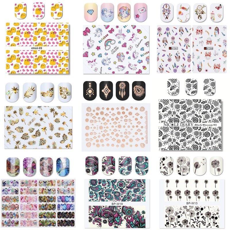 Nagelsticker Fingernägel Aufkleber Tattoo 3D Nail Art Nageldesign Wasser-Sticker