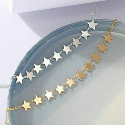 2021 Women's Star Pendant Choker Necklace Gold Silver Long Chain Jewelry Simple Fashion Jewelry