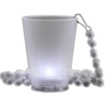Light Up White Shot Glass on White Beaded - Light Up Shot Glass Necklace