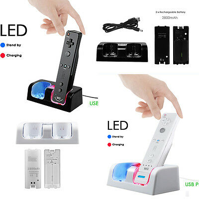 (Dual Charger Charging Dock Station + 2 Battery For Wii / Wii U Remote Controller)