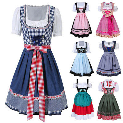 Cheers Traditional German Girls Oktoberfest Dirndl Fancy Dress Servants Costume#