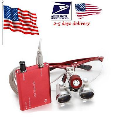 Usa Sell Dental Surgical Binocular Loupes Magnifier Zoomled Head Light Lamp Aa