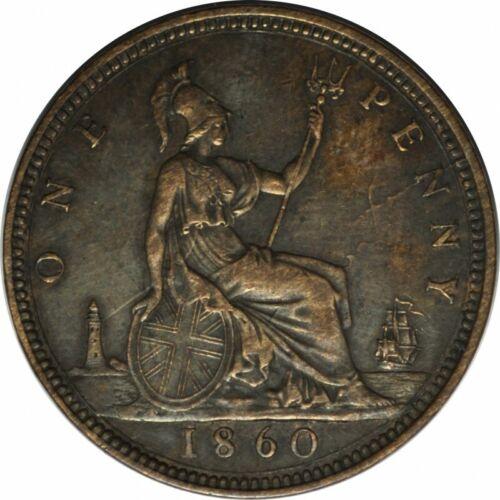 1860 GREAT BRITAIN PENNY GORGEOUS CHOICE AU/UNC - EYE APPEAL! d188txhh