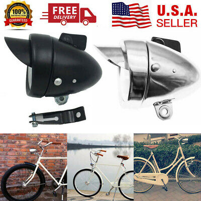 US Vintage Bicycle Metal Chrome Headlight Bike LED Bright Retro Front Head Light Bike Bicycle Head