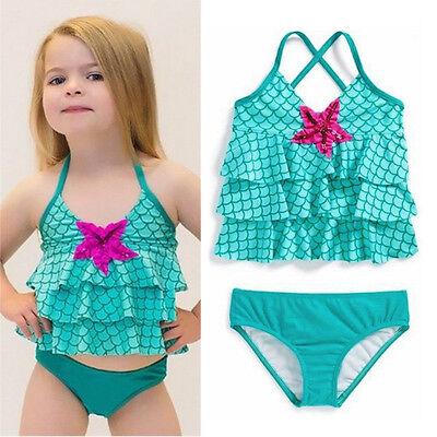 US Stock Toddler Kids Girls Merimaid Bikini Set Swimwear Swimsuit Bathing - Swim Suit Girls