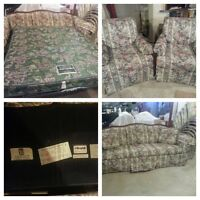 Sofa bed with 2 matching chairs