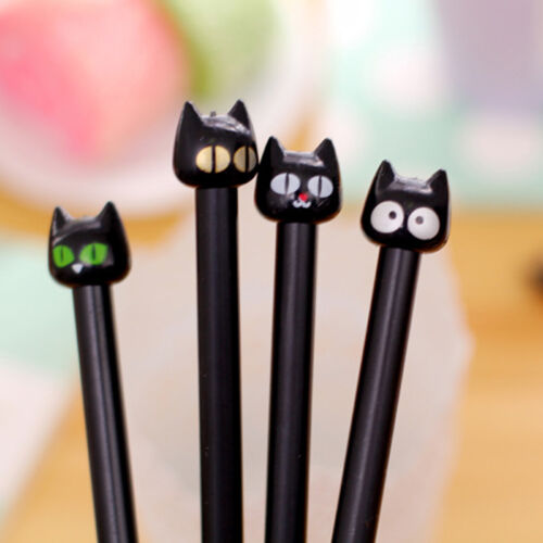 5pcs/set Black Cat Gel Pen Cute Stationery Creative Gift School Supplies 0.5mm