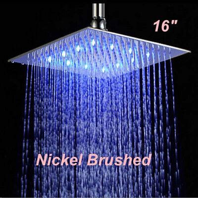 16-inch LED Thunder-shower Shower Head Brushed Nickel Shower Heads Square Sprayer Faucet