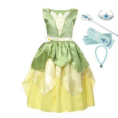Girls Tiana Princess Costume Children Sleeveless Frog Dress Up Halloween Ruched