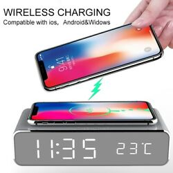 USB Digital LED Desk Alarm Clock QI bluetooth Wireless Charger For Smart Phone