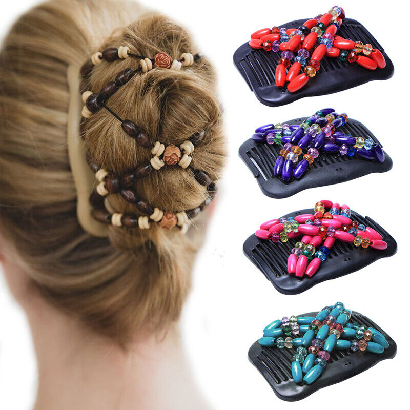 Double Clips Bead Magic Hair Clip Comb  Accessories Wooden B