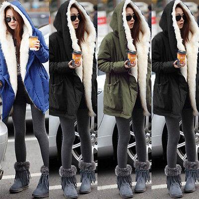 Women Fleece Warm Coat Fur Zip Winter Hoodie Parka Overcoat Long Jacket Outwear