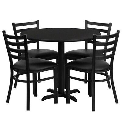 36 Round Black Laminate Table Set W 4 Vinyl Metal Chairs