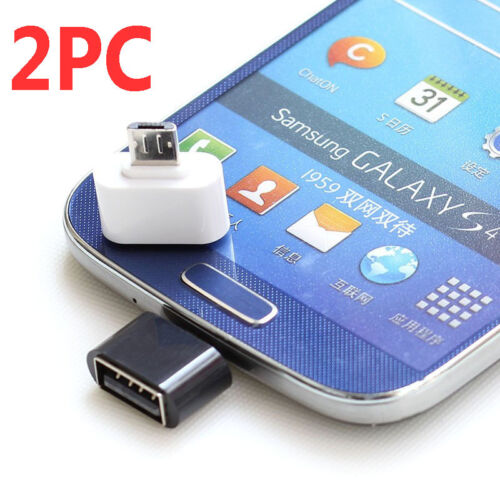 2PC Micro USB Male to USB 2.0 Adapter OTG Converter For Andr