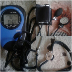 stethoscope, manual blood pressure + stop watch kit