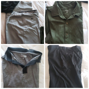 2 Polo shirts, 1t-shirt,2 pants, and 1 shirt