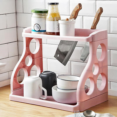 Storage Rack Shelf Double Layer Holder Organizer For Kitchen Spice Jar Bathroom ()