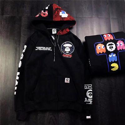 A Bathing Ape Pac Man Mosaic Bape Hoodie Black Pullover Drawstring Hooded Sweats