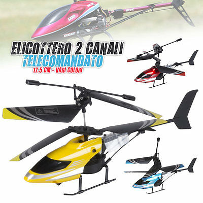 Elicottero Telecomandato 2 Canali Lungo 17,5 cm Uso Interno Esterno Vari Colori