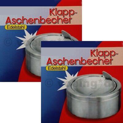 2x Klapp-Aschenbecher Edelstahl Windaschenbecher Sturmascher Ascher windsicher