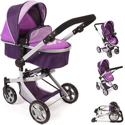 Bayer Chic 2000 Puppenwagen Mika 2in1 Purple Checker Kinderwagen Buggy für Puppe
