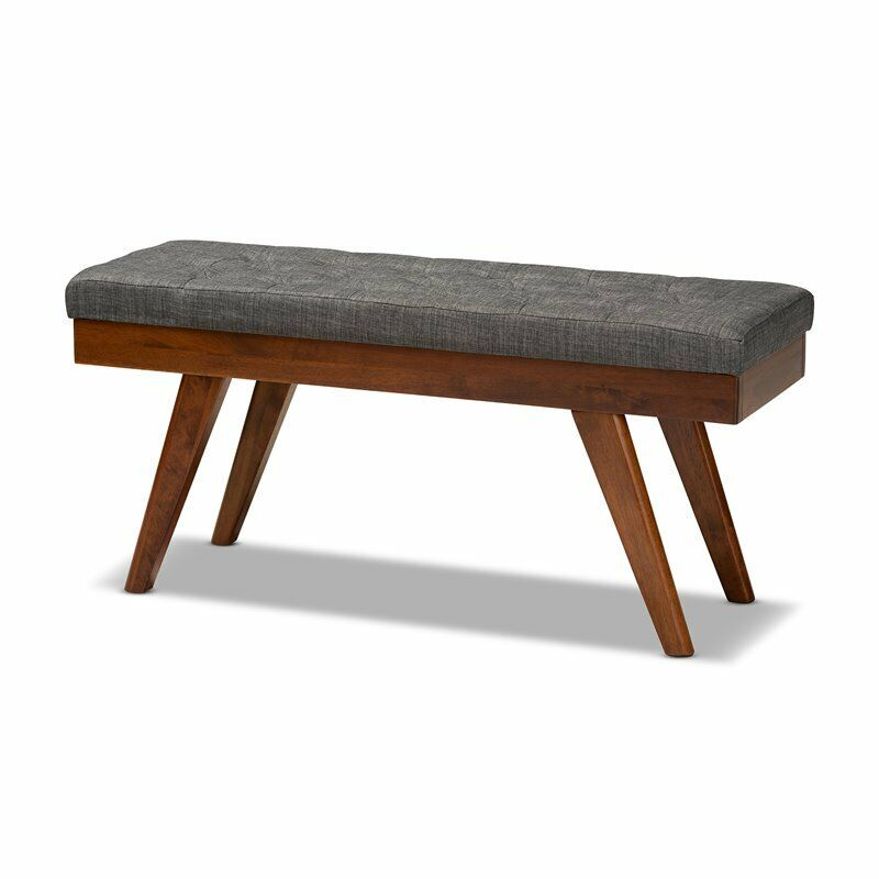 Baxton Studio Alona Mid-Century Upholstered Wood Bench in Gray