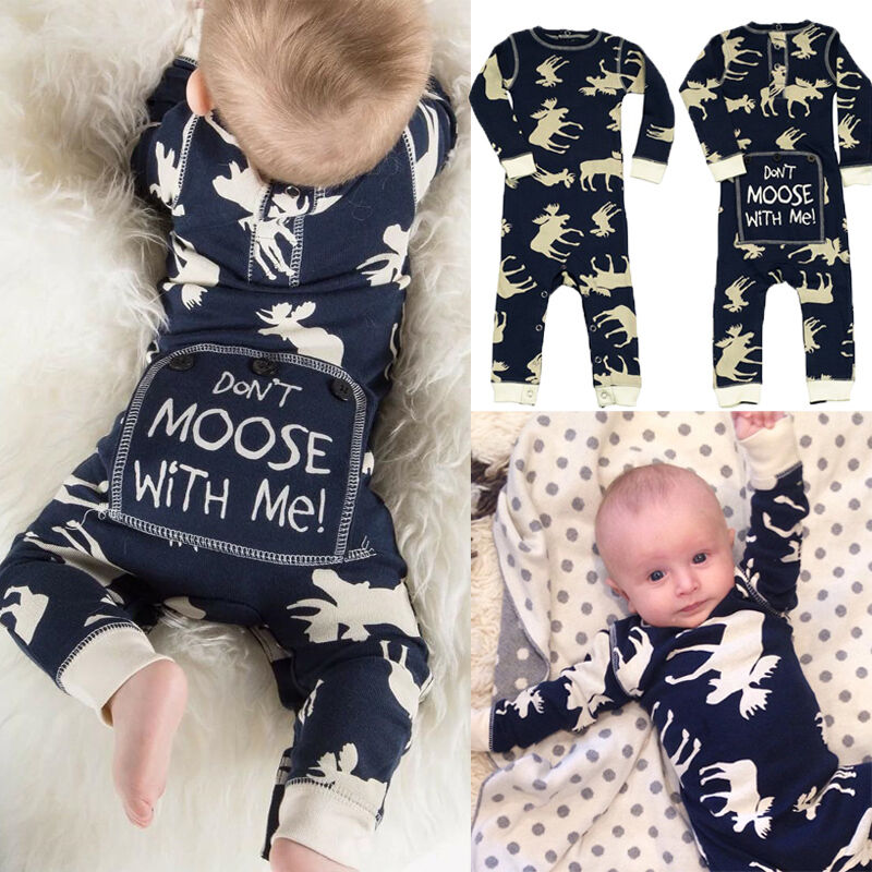 Infant Baby Girl Boy Flap Jacks Moose Romper Jumpsuit Sleepwear Pajamas Outfits
