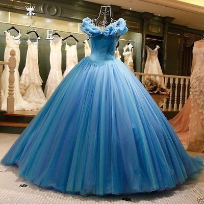 Blue Cinderella Wedding Evening Dresses Cosplay Princess Prom Party Ball -