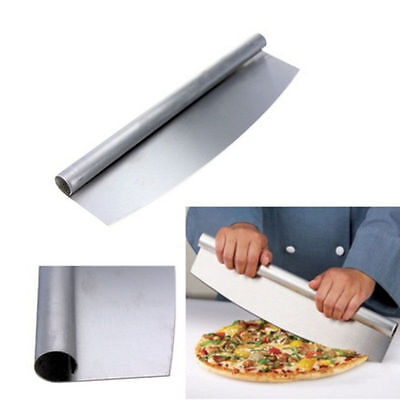 Large Pizza Cutter Mezzaluna Stainless Steel Professional Heavy Duty Slicer 32cm