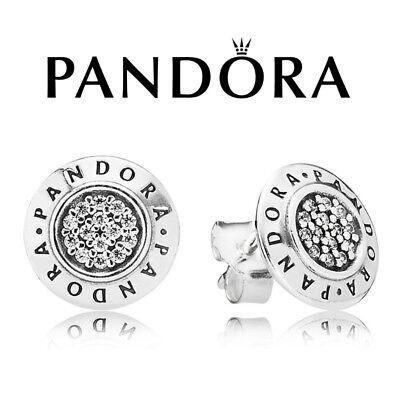 New Genuine Pandora Signature Stud Earrings - 290559CZ