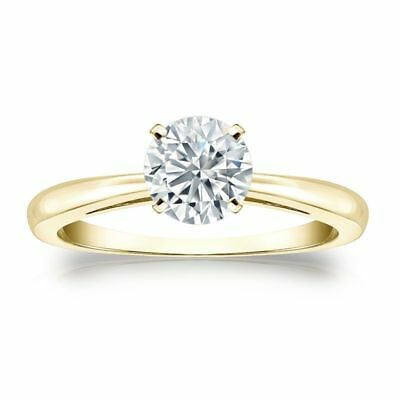 Stunning 0.30 Cts F/VS1 GIA Certified Natural Diamond Ring In Hallmark 14K Gold