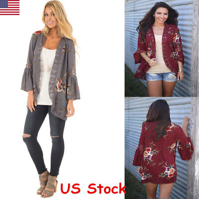 New Womens Loose Floral Kimono Cardigan Lace Blouse Tops Jacket Coat Outwear USA
