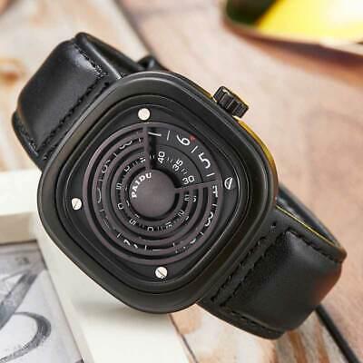 - Square Dial Turntable Watch Men Quartz Wristwatch High-tech Sense Leather Band