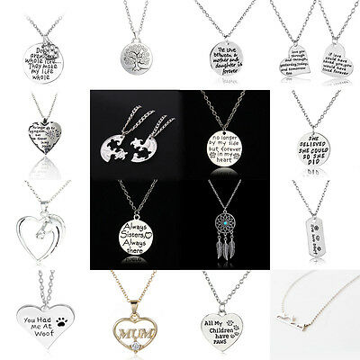 - Mother Mom Daughter Heart Family Horse Dog Tag Paw Crystal Friends Necklaces BFF