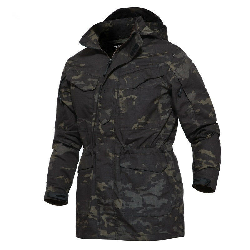 Mens Military Combat Tactical Trench Coats Jacket M65 Field WATERPROOF Casual @