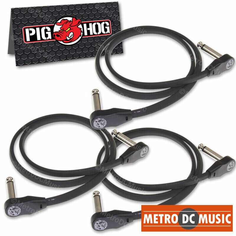 """3-Pack Pig Hog Low Profile Flat 24"""" Right-Angle Patch Cable Cord Pedal 2 ft NEW"""