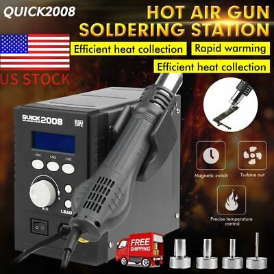 Quick 2008 Portable Hot Air Gun Smd Bga Rework Station Soldering 110v Us Stock