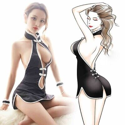 e779e7adf Women Chinese Cheongsam Qipao Lingerie Halter Backless Split MiniDress  Nightwear