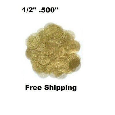 "100x Brass Gold Tobacco Pipe Screens - USA Made  - 1/2"" .500"""