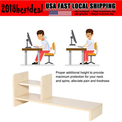 Desktop Monitor Riser Stand Desk Organizer Storage Shelf For Computer Office Us