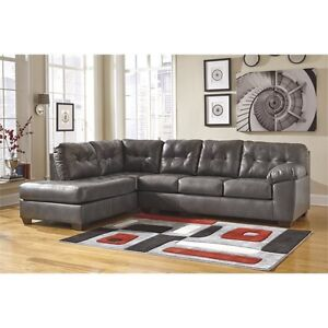 Alliston 2 piece brown leather sectional