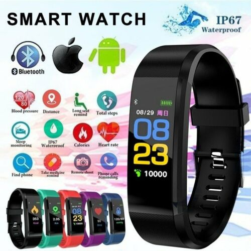 Sports Blood Pressure Heart Rate Fitness Smart Watch Wrist Bracelet Waterproof